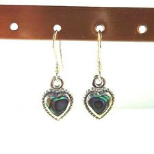 Heart Shaped Abalone/Paua Shell Inlay 925 Sterling Silver Drop/Dangle Earrings