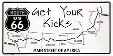 Route 66 Get Your Kicks Main Street License Plate Wall Sign Made in the USA