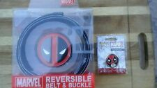 DEADPOOL REVERSIBLE BELT AND BUCKLE / POP PIN COMBO  OFFICIALY LICENSED BIOWORLD