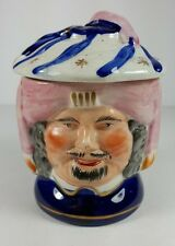 VINTAGE CHARACTER STAFFORDSHIRE TOBACCO JAR - TWO SIDED FACE (MERCHANT) DESIGN