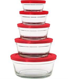 Farberware 10-Pc Food Storage Glass Bowl Set W/Plastic Lids Micr/Dishwasher Safe