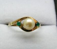 Vintage Lovely 14 Carat Gold Cultured pearl And Emerald Ring Size N