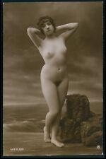 French full nude woman nudist on beach original c1910-1920s photo postcard