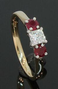 9 Carat Yellow Gold 3 Stone Ruby & Diamond Ring 0.39ct Size M1/2 (01.21.008)