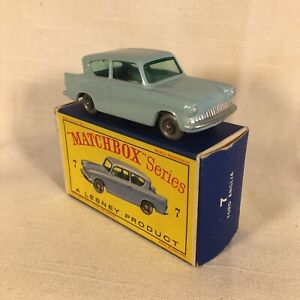1960s,Lesney Matchbox,7 Ford Anglia,SPW.Mint in D Type box, Original.