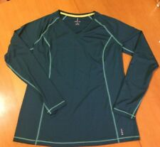 Lands' End Womens Long Sleeve Athletic Shirt Green M 10-12
