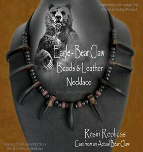 UNLEASH YOUR INNER BEAST BEAR CLAW NECKLACE - INDIAN STYLE FAUX - FREE SHIP #R'