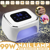 99W LED Pro UV Nail Lamp Light bluetooth Speaker Polish Gel Dryer Quick Curing