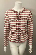 Talbots Pink White Striped Fringe Trim Cotton Blazer Jacket Size 2