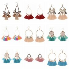 Women's Bohemian Dream Catcher Cotton Strings Tassels Vintage Hook Drop Earrings