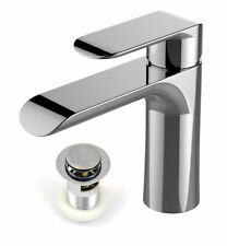 Modern Basin Sink Tap Round Mixer Chrome Mono Bloc Cloakroom Bathroom Taps Waste