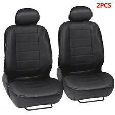 2Pcs Front Car Seat Cover Cushion Black PU Auto Truck Seat Protector All Seasons