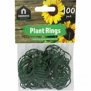100 PLANT RINGS PLASTIC COATED REUSABLE TWISTY PLANT SUPPORT CLIPS INDOOR OUTDOR