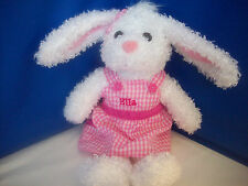 """EASTER BUNNY Looped Plush Pink & White Gingham Dress PERSONALIZED """"ELLA"""" 16"""" NEW"""