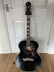 Epiphone ej200 guitarej-200 Jumbo Acoustic Made In Indonesia 2008 Black