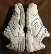 NEW BALANCE NB 654 TENNIS COURT LEATHER SHOES WHITE BLUE WC654W 2A WOMEN SIZE 8