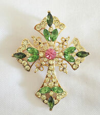 Nw Green Golden Holly Cross Brooch Pin Necklace Lucky Charm Pendant Gift BR1046A