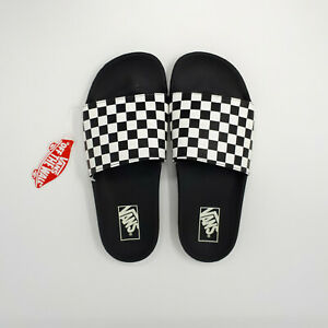 NEW Vans Slide-One On Sandal Slipper Checkerboard Black VN0A38DBN40 Men's Size 9