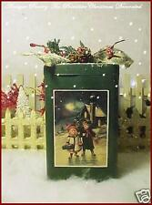 Primitive Antique Pantry Tin Victorian style Christmas Postcard Label & Glitter