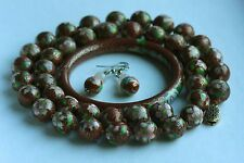 Vintage Chinese BIG Cloisonne  Bead Necklace & Bangle & Free Earrings