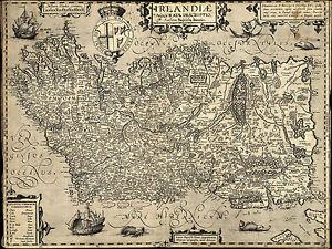 "1606 Map of Ireland Baptista Boazio 11""x14"" Wall Art Poster Decor  Irish History"