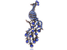 Womens Copper Tone Sapphire Blue Colored Rhinestones Peacock Bird Brooch Pin