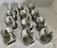 Turkey Motif Thanksgiving Napkin Holders Rings Cast Silver Tone Metal Set Of 12