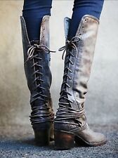 Freebird By Steven Madden Coal Distressed Leather Boots Size 8