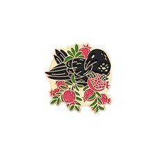 Enamel Pin Backpack Badge Jewelry Gift 1Pcs Black Crow Brooch Floral Animal Punk