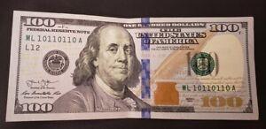 2013 $100 dollar bill Fancy Serial Number true binary repeater 10110110