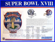 SUPER BOWL 18 Raiders / Redskins 1984 Willabee Ward OFFICIAL SB XVIII NFL PATCH