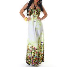 Womens Summer Floral Halter Neck Long Backless Maxi Dress size 10 12 14