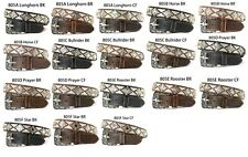 Western Men Leather Belt w Decoration Concho Bling Flashy Silver or Gold&Silver