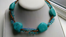 LOVELY FOUR STRAND BEADED NECKLACE WITH TURQUOISE STYLE STONES BROWN & BLUE BOHO