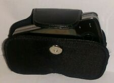 HOLSTER CASE BLACK LEATHER & Fabric Magnetic Clasp UNIVERSAL USE Strong Clip HTC