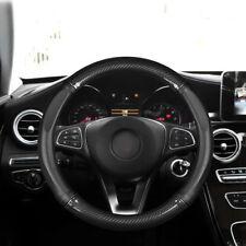 "For 15"" 38cm Car Carbon Fiber Leather Steering Wheel Cover Black Non-slip Covers"