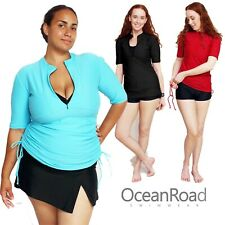 Womens Rash Guard Short Sleeve & Adjustable Length Rash Vest Swim Shirt Ladies