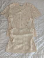 NWOT St. John Collection Women's 2 Piece Cream Knit Cardigan (12) and Top (M)