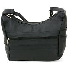 Women's Genuine Leather Purse Mid Size Multiple Pocket Shoulder Bag Handbag New