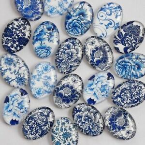 20pcs Porcelain Oval Glass Cabochon Cameo Pendant Settings Dome Jewelry Findings