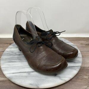 Fidji Leather Oxford Low Heel Loafer Brown w/ Front Tie Women's Size US 6.5