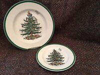 "Spode Christmas Tree 2 Pc LOT: (1) Dinner Plate 10 ⅜"" + (1) Salad Plate 7 ¾"""
