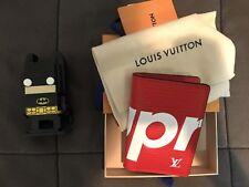 Supreme x LV Louis Vuitton Pocket Organizer Red Cardholder Wallet 100% authentic