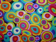 FQ BRIGHT PSYCHEDELIC CIRCLES SWIRLS FABRIC HIPPIE 60S RETRO