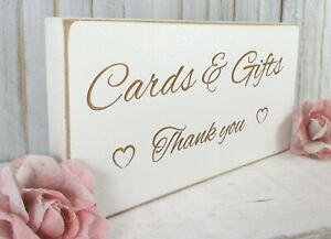 Cards & Gifts Wedding Sign Free Standing Vintage Shabby & Chic White Wooden