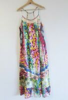 Adrift Size M Vibrant Colourful Boho Print Sequin Trim Beach Resort Maxi Dress