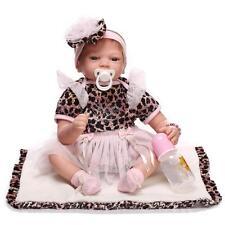 22'' Full Body Vinyl LifeLike Reborn Baby Girl Doll Silicone Newborn Toy Gift