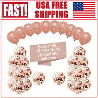 US! Rose Gold Confetti Foil Balloons 12'' 30PCS Party Birthday Wedding Decors CS