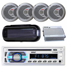 """Pyle Car Receiver - 400W 4 Ch. Amplifier, 6.5"""" Marine Speakers with Radio Shield"""