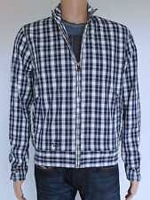 NEW Firetrap mens Size M lightweight blue check cotton jacket
